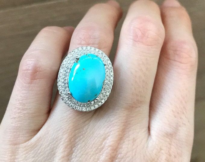 Oval Turquoise Engagement Ring- Halo Turquoise Promise Ring- December Birthstone Statement Ring- Sterling Silver Large Turquoise Ring
