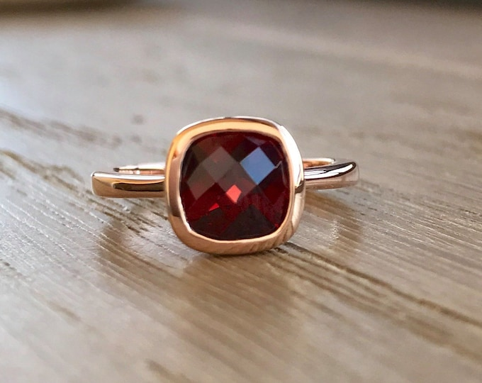Rose Gold Garnet Engagement Ring- Cushion Cut Garnet Promise Ring- Red Gemstone Wedding Ring- Simple Anniversary Ring- Red Stone Silver Ring
