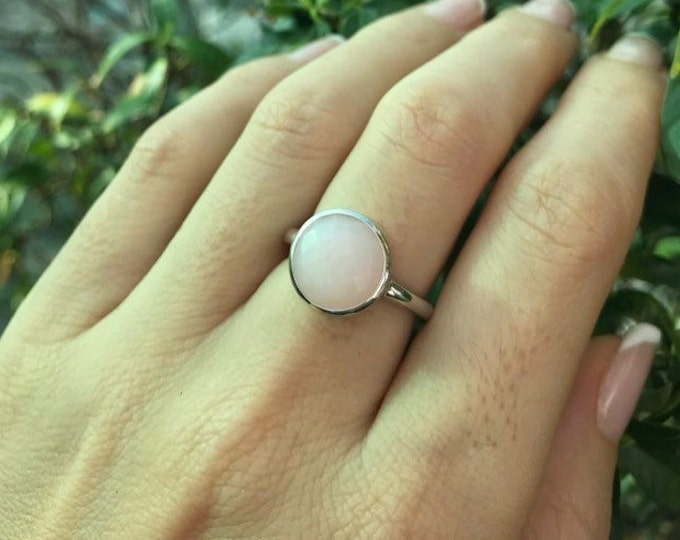 Stackable Round Opal Ring- October Birthstone Ring- Pink Gemstone Ring- Pink Stone Ring- Gifts for Her- Faceted Bezel Sterling Silver Ring