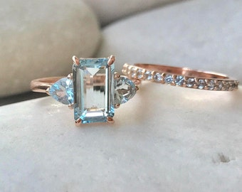 Rose Gold Aquamarine Ring- Aquamarine Engagement Ring Set- Emerald Cut Bridal Set- Unique Aquamarine Wedding Ring- Rectangle Ring Set