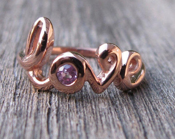 Love Ring, Rose Gold Love Ring, Valentine Day Gift for Her, Sapphire Ring, September Birthstone Ring, Gifts for Wife Girlfriend Promise Ring