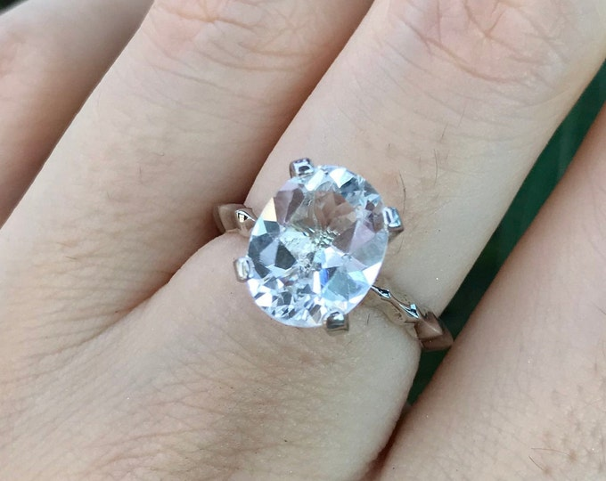 Genuine White Topaz Oval Promise Ring for Her- 10 x 8mm Topaz Colorless Engagement Ring- Large Natural Clear Topaz Gemstone Solitaire Ring