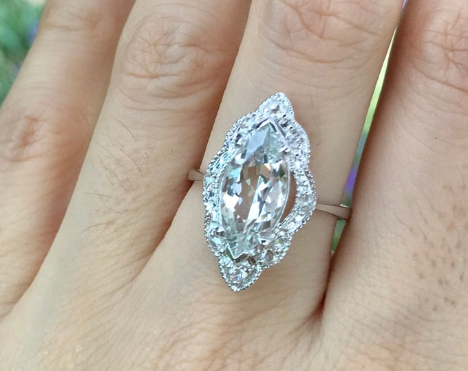 Marquise White Topaz Engagement Ring- Vintage Inspired Navette Scalloped Solitaire Ring- White Gold Colorless Rose Cut Diamond Accent Ring