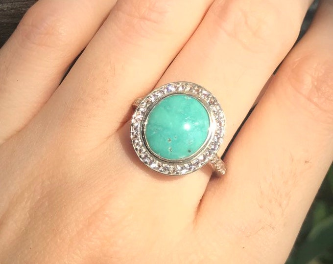 Oval Turquoise Engagement Women Ring- Genuine Turquoise Halo Promise Ring for Her- Solitaire Statement Ring- December Birthstone Ring
