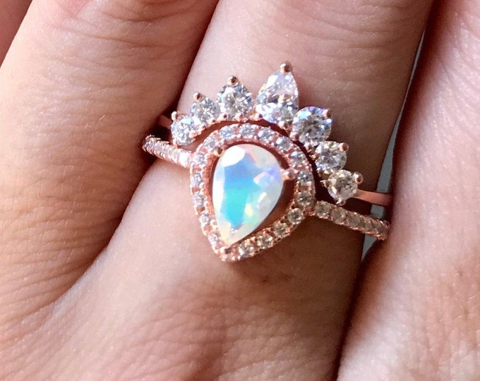 Teardrop Genuine Opal Engagement Vintage Ring Set- Natural Opal Halo Promise Ring- Pear Welo Opal Anniversary Ring- October Birthstone Ring