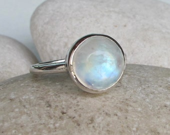 Engagement Ring- Promise Ring- Moonstone Ring- June Birthstone Ring- Gemstone Ring- Round Moonstone Ring- Ring- Solitaire Ring
