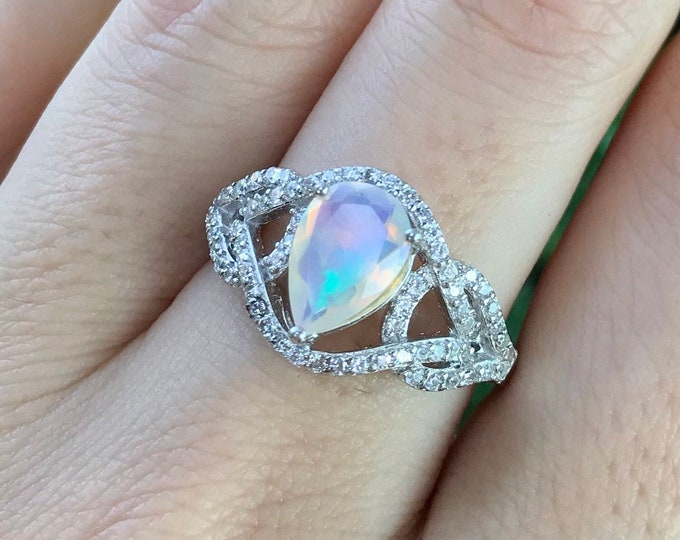 Pear Opal Genuine Engagement Ring- Opal Statement Deco Ring- Halo Opal Promise Ring- Solitaire Natural Opal Ring- October Birthstone Ring