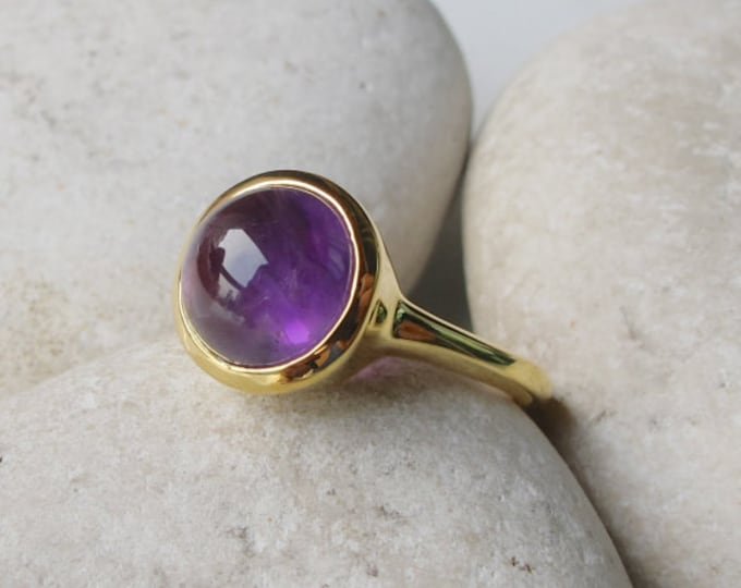 Round Amethyst Healing Cab Silver Ring- Purple Amethsyt Solitaire Ring- February Birthstone Ring- Natural Genuine Amethyst Ring- Purple Ring