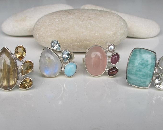 Golden Rutile Quartz Ring- Citrine Ring- Blue Topaz Ring- Moonstone Ring- Green Amethyst Ring- Rose Quartz Ring- Tourmaline Ring- Pearl Ring