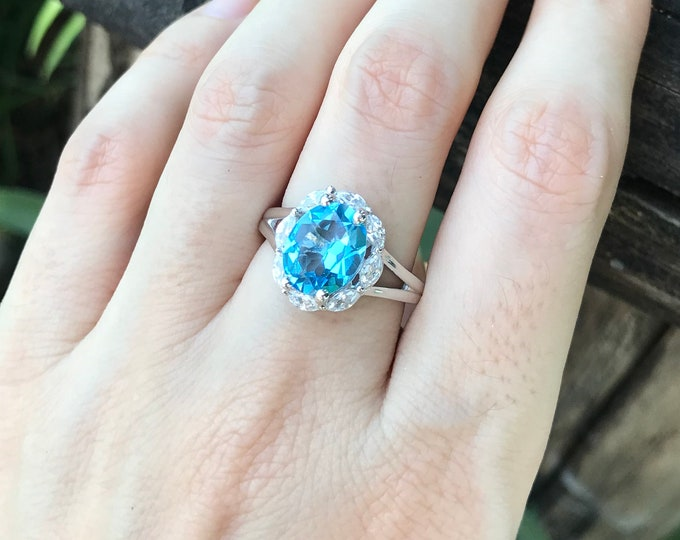 Swiss Blue Topaz Halo Solitaire Ring- Oval Blue Topaz Anniversary Split Ring- Unique Blue Gemstone Engagement Ring- December Birthstone Ring