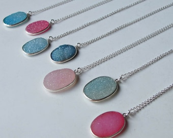 Pink Druzy Necklace Silver Oval Rough Stone Raw Boho Simple Necklace Everyday Layering