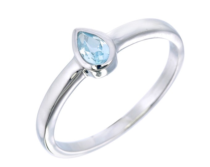 Genuine Blue Topaz Stack Teardrop Ring- Light Blue Pear Bezel Dainty Ring- Silver Stone Ring for Children Teen- December Birthstone Ring