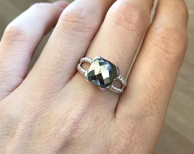 Square Rustic Pyrite Ring- Gold Metallic Sparkle Statement Ring- Bohemian Solitaire Double Band Stone Ring- Rope Split Shank Ring