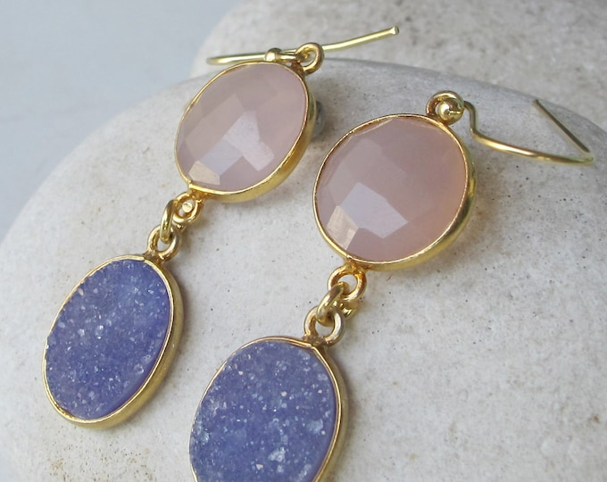 Pink Purple Druzy Mix Stone Dangle Earring- Two Stone Drop Unique Earring- OOAK Gemstone Long Earrings- Colorful Pink Purple Earring