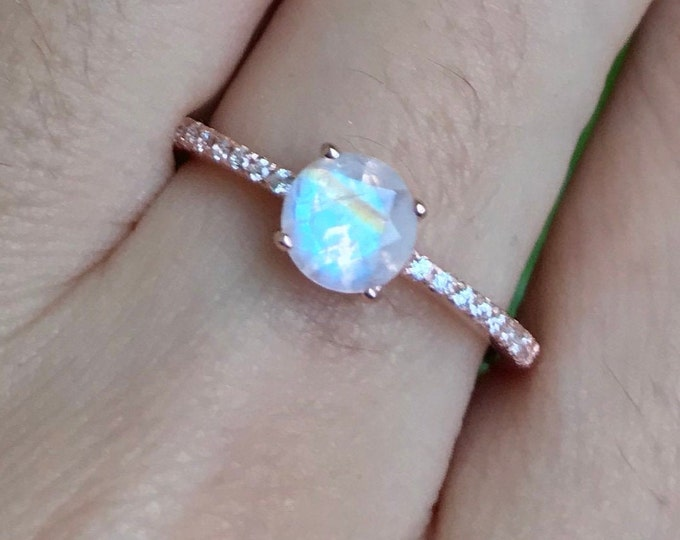 Rose Gold Moonstone Engagement Ring- 4 Prong Promise Ring for her- Rainbow Moonstone Solitaire Ring- Round Genuine Moonstone Classic Ring