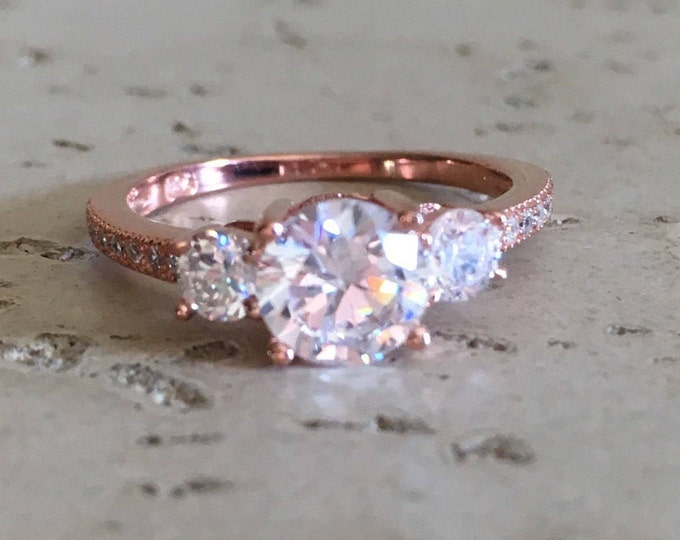 Rose Gold Anniversary Ring- Three Stone Ring- Alternative Engagement Ring- Rose Gold Promise Ring- Womens Engagement Ring