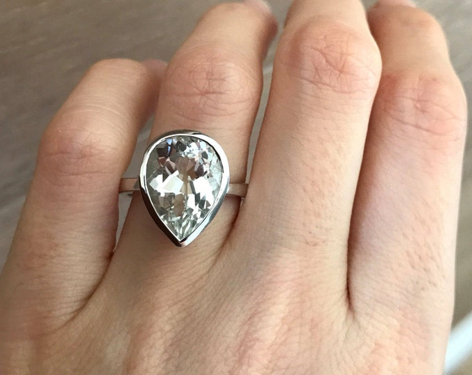 Large White Topaz Pear Engagement Ring- Women Colorless Teardrop Solitaire Ring- Clear Huge Gemstone Silver Ring- Alternative Simple Ring