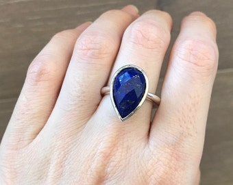 Teardrop Lapis Lazuli Silver Ring- Custom Sizing Solitaire Genuine Natural September Birthstone Simple Handmade 925 Silver Lapis Lazuli