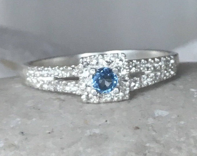 Blue Sapphire Ring Dainty Sapphire Ring Silver