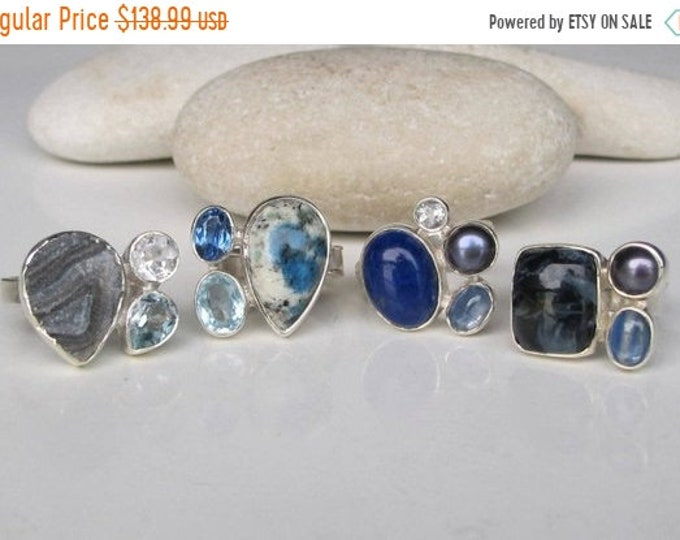 40% OFF SALE Boho Ring Silver Multistone Genuine Natural Cluster Set Gemstone Sterling Silver Druzy Jasper Kyanite Pearl Agate Crystal Ring