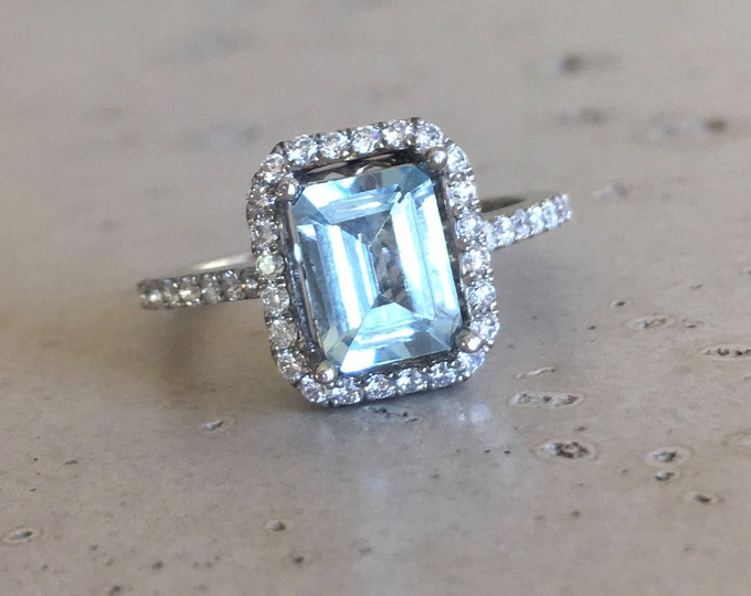 Emerald Cut Aquamarine Engagement Ring- Rose Gold Aquamarine Promise Ring- Halo Diamond Aquamarine Ring- Solitaire Blue Gemstone Gold Ring