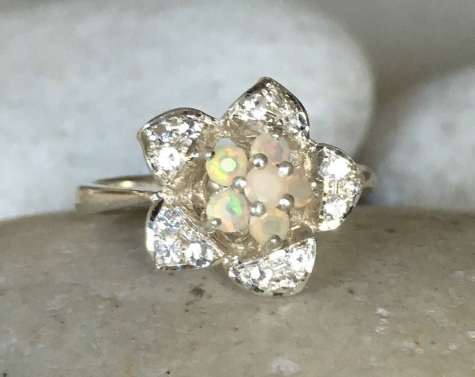 Floral Ring Opal Engagement Ring Flower Opal Ring Anniversary October Birthstone