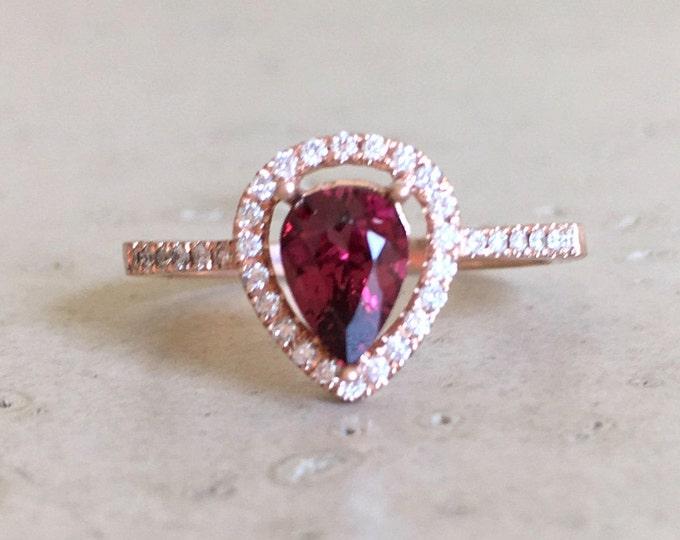 Rose Gold Garnet Engagement Ring- Red Garnet Diamond Halo Ring- Genuine Garnet Promise Ring for Her- Natural Faceted Garnet Anniversary Ring