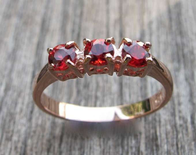 Rose Gold Genuine Ruby Ring- Three Stone Ruby Anniversary Ring- Ruby Engagement Ring- Red Ruby Promise Ring for her- July Birthstone Ring-