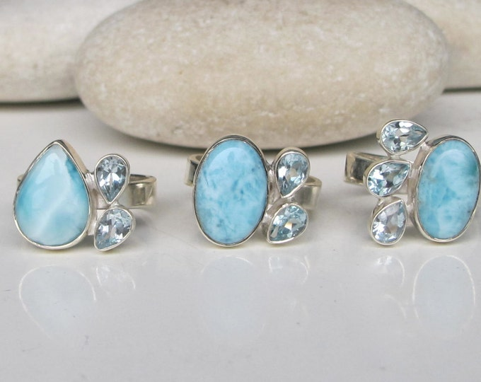 Blue Topaz Larimar Cluster Gemstone Ring- Birthstone Statement Ring- Adjustable Multistone Blue Ring- Something Blue Ring- Unique Blue Ring
