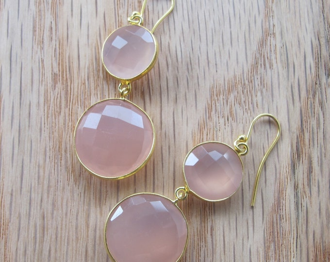 Pink Chalcedony Dangle Earring- Rose Quartz Drop Earring- Pink Double Drop Earring- Long Pink Statement Earring-Sterling Silver Gold Earring