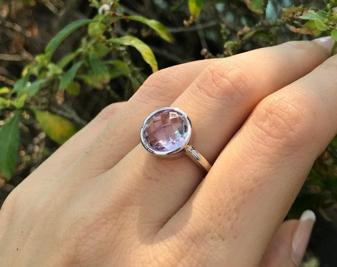 Light Purple Amethyst Ring- February Birthstone Ring- Light Purple Gemstone Ring- Faceted Stackable Ring- Simple Amethyst Solitaire Ring