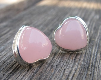 Pink Heart Shape Earring- Pink Stud Earring- Valentine Gifts for Her- October Birthstone Earring- Jewelry Gifts for Her- Gift for Wife