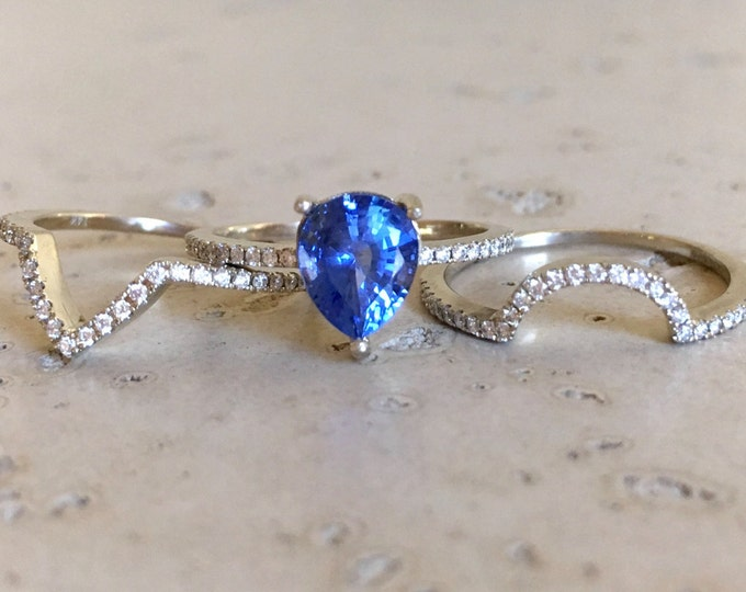 Genuine Blue Sapphire Halo Engagement Ring- 1.70ct Pear Natural Sapphire Bridal Ring Set- 3 Ring Set Sapphire with Diamond- 14k Gold Ring