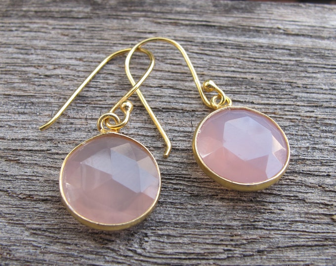 Pink Chalcedony Round Drop Earring- Simple Pink Gemstone Dangle Earring- Rose Quartz Bezel Gold Earring- Pink Topaz Pink Quartz Earring