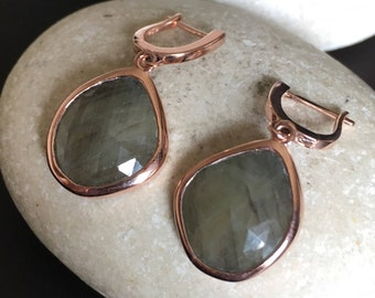 Raw Earring Sapphire Genuine Real Earring Rose Gold Dangle Drop Earring September Birthstone Green Earring Handmade Gemstone Oval