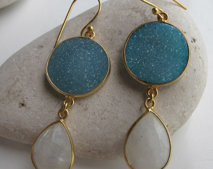Moonstone Druzy Earring- Unique Statement Earring- Double Stone Earring- Two Stone Drop Earring- Sterling Silver Gold Earring