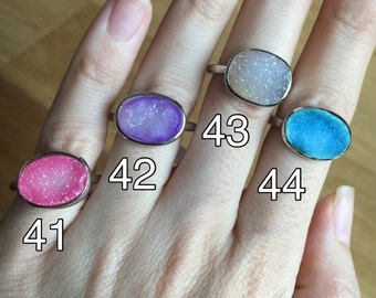 Druzy Ring All Sizes Size 9 Size 10 Blue Druzy Ring Purple Druzy Ring