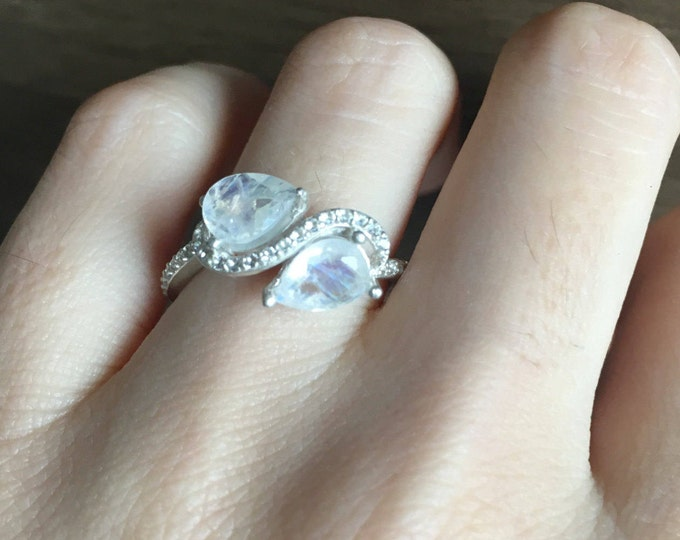 Rainbow Moonstone Infinity Engagement Ring- Love you to the Moon and Back- Moonstone Ring in Sterling Silver