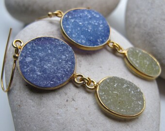 Blue Druzy Dangle Earring- Green Druzy Earring Gold- Double Drop Earring Rough Raw Stone Long Earring