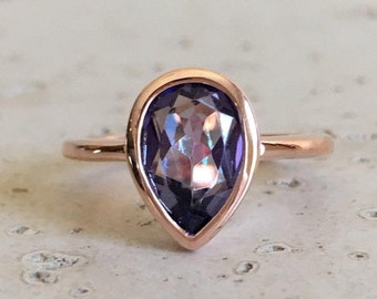 Pear Mystic Topaz Ring- Rose Gold Ring- Mystical Gemstone Ring- Rainbow Mermaid Boho Ring- Neptune Garden Topaz Sterling Silver Festive Ring