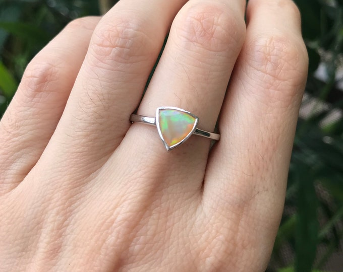 Natural Opal Triangle Small Stack Silver Ring Boho Simple Welo Opal Genuine Danity Ring