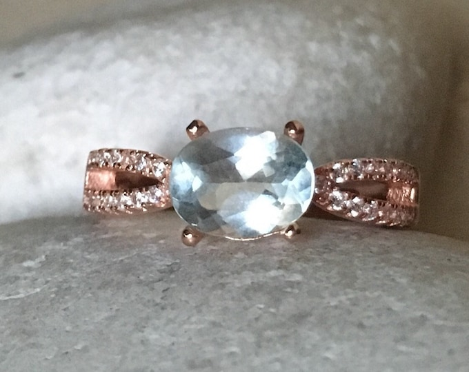 Rose Gold Aquamarine Promise Ring- Oval Engagement Prong Ring- Bridal Wedding Ring- March Birthstone Ring- Double Band Solitaire Ring
