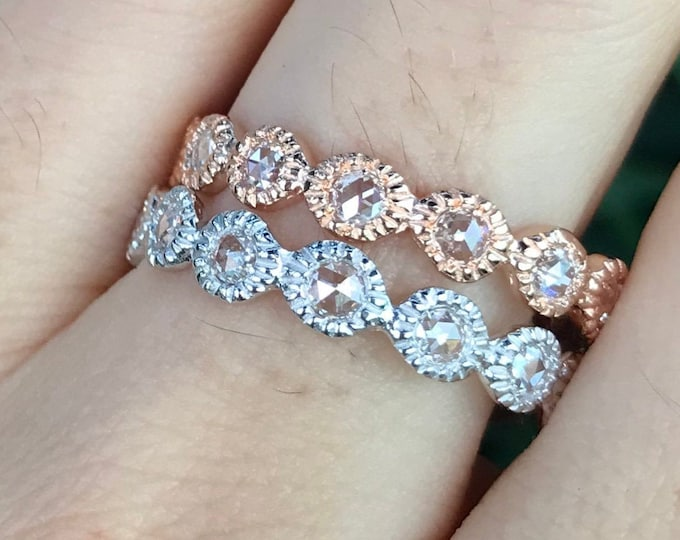 Rose Cut Genuine Diamond Eternity Wedding Band- Natural White Diamond Solid Gold Band- Round Circle Diamond Stack Milgrain Band-Nesting Band