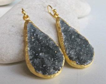 Druzy Earring Blue- Raw Gold Dangle Earring- TearDrop Handmade Earring- Real Druzy Earring- Natural Earring Boho Raw Crystal Earring Rustic