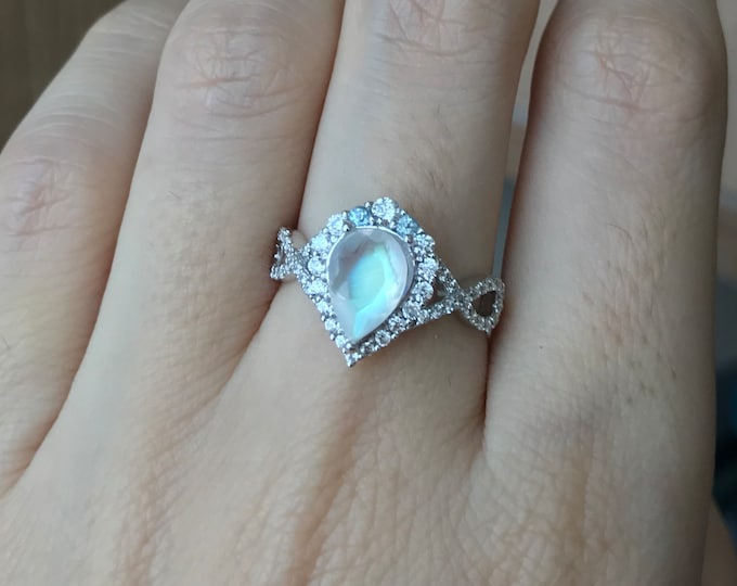 Moonstone Infinity Engagement Ring- Rainbow Moonstone Promise Split Shank Ring- Moonstone Pear Halo Anniversary Ring- Solitaire June Ring