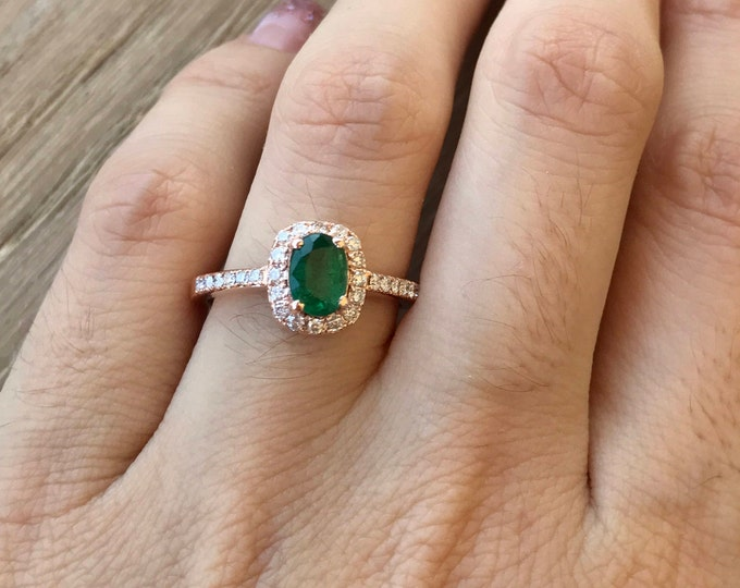 Emerald Engagement Ring Rose Gold Oval Halo Diamond Natural Emerald Ring