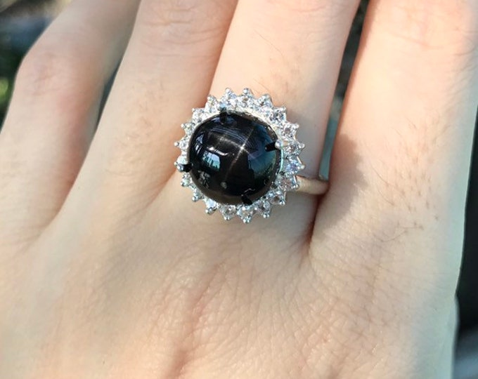 6.40ct Natural Black Star Sapphire Halo Round Ring- Unique Alternative Diamond Ring-Black Large Statement Ring- Septemeber Birthstone Ring