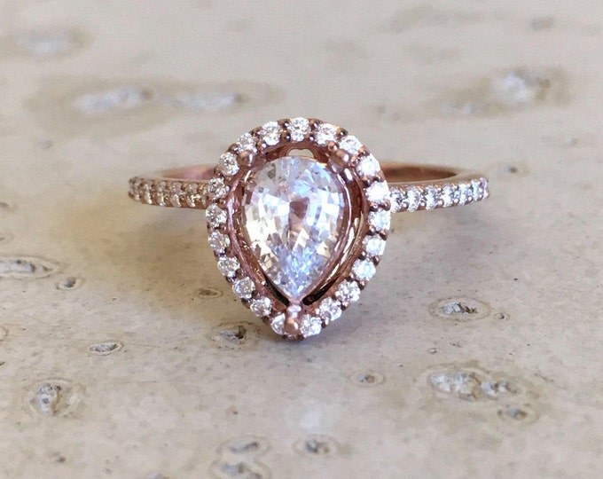 White Sapphire Engagement Ring- Rose Gold Genuine Sapphire Ring- Pear Colorless Gemstone Promise Ring- Sapphire Halo Diamond Ring