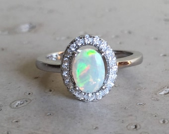 Oval Halo Engagement Ring- Opal Promise Ring- Genuine Opal Wedding Ring- Opal Solitaire Anniversary Ring- October Birthstone Ring