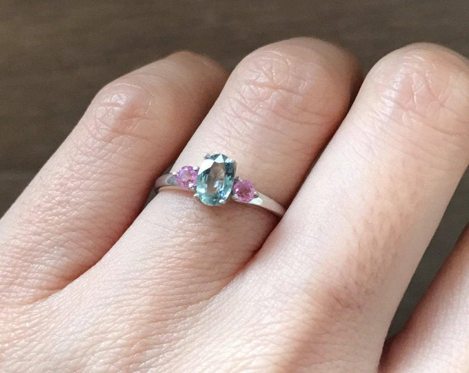 Three Stone Engagement Ring- Sapphire Promise Ring for Her- September Birthstone Ring- Blue Pink Anniversary Ring- Woman Wedding Ring